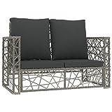 Ksodgun 2-TLG. Garten-Lounge-Set mit Auflagen Terrassenmöbel Gartenmöbel-Set Palettenkissen Gartensofa Poly Rattan Grau
