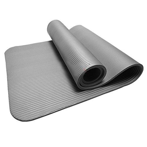 ZYUEER Tapis de Yoga antidérapant Durable, Extra épais : 10 mm Idéal pour Yoga/Pilates chez soi, au Studio ou au Bureau (Gris)
