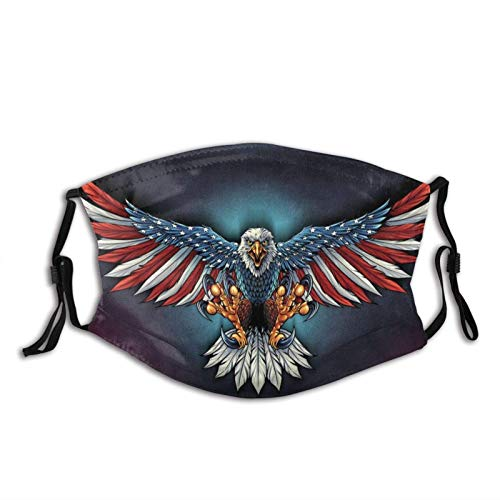 Patriotic Bald Eagle US Flag Mask with Pocket Washable Cloth Face Bandanas Balaclava Comfortable Reusable with 2 Filters