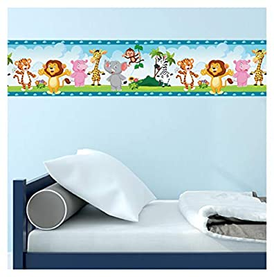 Zoo Animals Wall Border and Sticker - for Kids' Bedrooms, Easy to Apply, 16.4 feet Long, 5.1 inches Tall (Zoo Animals Border)