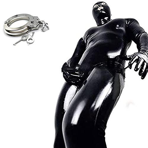 FASZFSAF Traje de lencería de Cuero de la Laca Hombre Sexy Latex Conjunto Ropa Erotica Una Pieza Leotardo de Charol para Hombre Clubwear,Negro,XL