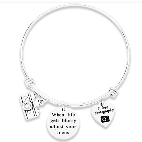 Kivosliviz Photograph Bracelet Jewelry for Photographer When Life Gets Blurry Adjust Your Focus Camera Charm Bracelet