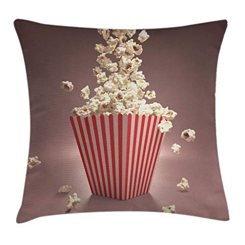 Ambesonne Retro Throw Pillow Cushion Cover, Retro Style Popcorn Art Image Cinema Movie Theater Theme in Classical Display, Decorative Square Accent Pillow Case, 18 X 18 Inches, Light Red White