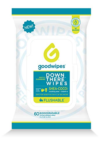 Goodwipes Down There Feminine Flushable Wet Wipes for Women, Shea-Coco Scent, 60 Wipe Pack, 1 Count