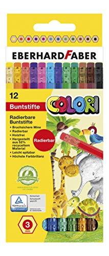 Eberhard Faber 514817 - Buntstifte Colori radierbar, 12-er Kartonetui