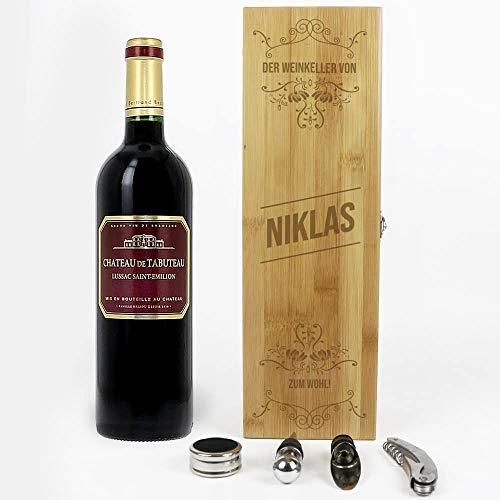 CADEAUX.COM Wein Geschenk Box - Dekantierset Sommelier Set, 4 Weinzubehör - Personalisierbares Geschenk - Prestige