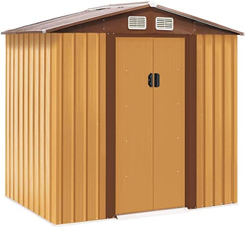 Crownland Backyard Garden Storage Shed 4 x 6 Feet Tool House with Sliding Door Outdoor Lawn Steel Roof Style Sheds, Yellow