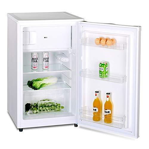 Stillstern Kühlschrank mit Gefrierfach A++ (90L) 4-Sterne-Gefrierfach und LED-Innenbeleuchtung, Abtauautomatik, Glasablagen, Gemüsefach, Türablagen