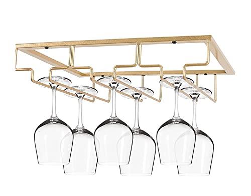 FIAMER Soporte para copas de vino, decoración de mesa, organizador de metal, para bar, cocina, 3 filas, estante de acero inoxidable, estante de almacenamiento, color negro (dorado)
