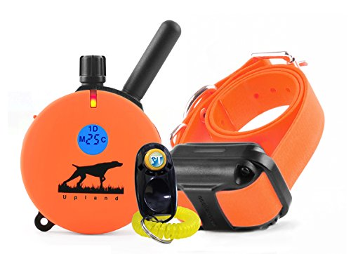 Bundle of 2 Items - E-Collar - UL-1200-1 Mile Rechargeable Remote Waterproof Upland Hunting Trainer Educator - Static, Vibration and Sound Stimulation Collar with PetsTEK Dog Training Clicker