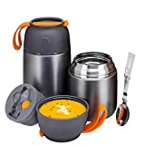 Insulated Lunch Containers Hot Food Jar, 2 Pack 24 oz + 17 oz Vacuum Soup Thermos for Kids Adults, Stainless Steel Bento Lunch Box Keep Warm/Cold with Foldable Spoon & Fork for School Office, Grey