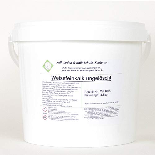 Weissfeinkalk. Gebrannter+gemahlener Kalk (Pulver-Kalk) höchstreaktiv im 4,5kg- im Eimer