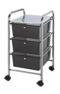 Blue Hills Studio SC3SM 13-Inch by 26-Inch by 15-1/2-Inch Storage Cart with 3 Drawers, Smoke (B002GB0538) | Amazon price tracker / tracking, Amazon price history charts, Amazon price watches, Amazon price drop alerts