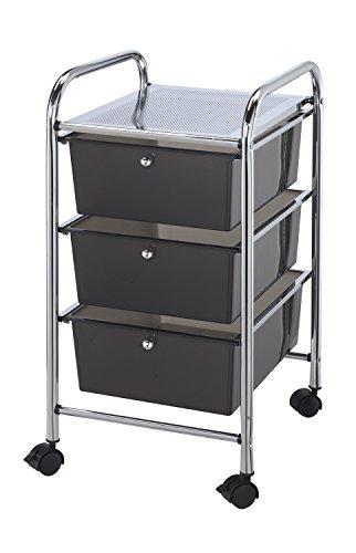 Alvin, SC3SM, Deep Storage Organizer Cart - Smoke, 3 Drawers