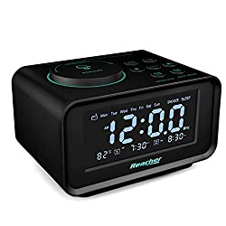 REACHER Digital Alarm Clock Radio with Manual Tuning, All Functions Battery Backup, 0-100% Dimmer, 2 USB Charging Ports, Temperature, Dual Alarm with Snooze and 6 Wake Up Natural Sounds for Bedrooms