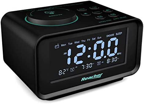 REACHER Digital Alarm Clock Radio with Manual Tuning All Functions Battery Backup 0 100 Dimmer product image