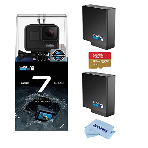 GoPro HERO7 Black - Waterproof Digital Action Camera with Touch Screen 4K HD Video 12MP Photos Live Streaming, Bundle With 2 Extra GoPro Batteries + 128GB SD Card + Cleaning Cloth