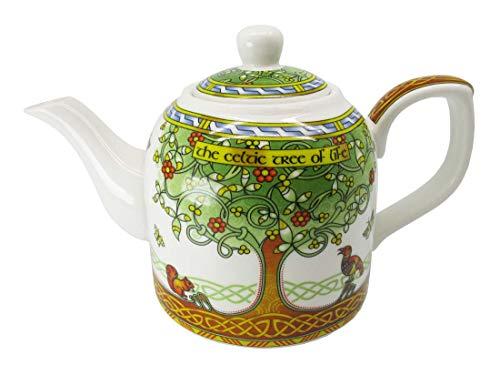 Royal Tara Irisch Porzellan Teekanne Tee Kanne Tea Pot Keltische Baum des Lebens Design | Teekessel aus New Bone China | H 12,5 cm B 20 cm Kapazität 0,65 lt
