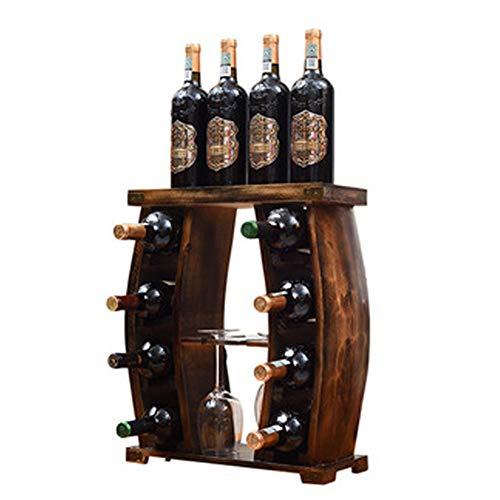 BAIYIQ Botellero pequeño,Botellero de Pared,Madera Botelleros Vino,Material de Pino Radiante, se Puede Colocar en el Suelo, Puede Contener 8 Botellas de Vino Tinto