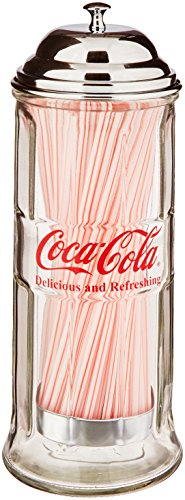 Tablecraft Coca-Cola Glass Straw Dispenser with Metal Lid, Small