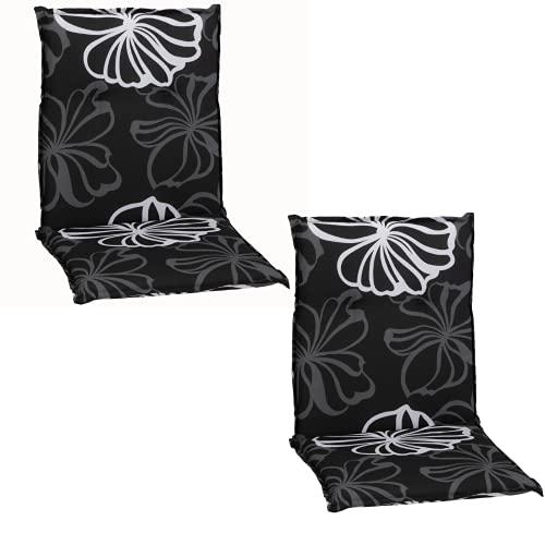Beo Niedriglehner Auflagen 2er Pack UV-beständig Barcelona   Made in EU nach Öko-Tex Standard   Waschbare Stuhlauflage Niedriglehner   Atmungsaktive Auflagen Niedriglehner mit grauen Blüten