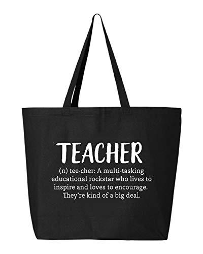 Shop4Ever Teacher Definition Heavy Canvas Jumbo Tote Reusable Shopping Bag 10 oz (Black, 1 Pk)