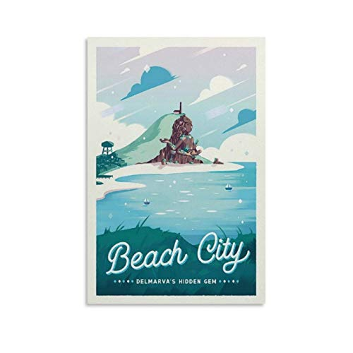 cheap online photo prints YANGL Beach City - Steven Universe Retro Travel Canvas Art Poster and Wall Art Picture Print Modern Family Bedroom Aesthetic Gift Decor Aesthetic Vintage Online Cheap Posters 16x24inch(40x60cm)