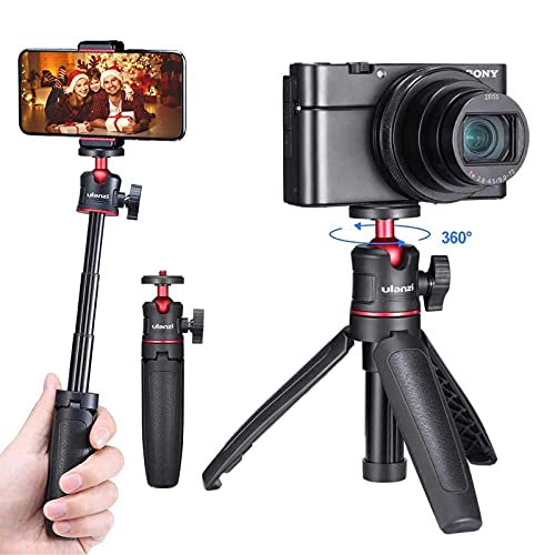 camera mount with js Ulanzi Mini Extension Pole Tripod,Table Mini Tripod for Cameras and Smartphones Handheld Tripod Compatible with RX100 M1-M6 A6400 A6500 A6600 Canon G7X Mark III