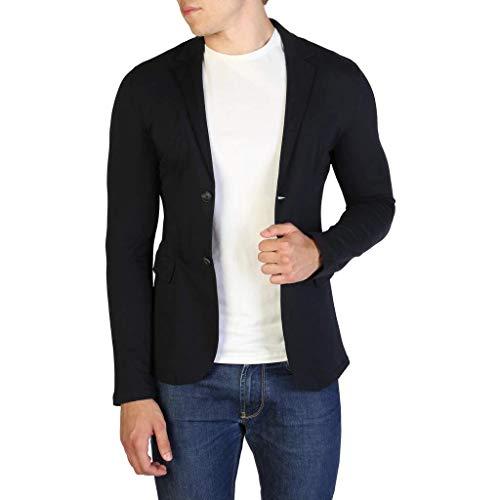 Armani AJ Herren Sakko Jacket 3Y6G81 Gr XL Blau Jersey Baumwolle Langarm Einreiher 2 Knopf