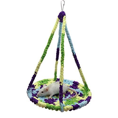Clicks Kletterseil Netze Hängematte für Kleintiere Hängendes Haus Bett Ratte Frettchen Chinchillas Totoro Hamster Meerschweinchen Spielruhe, Blau