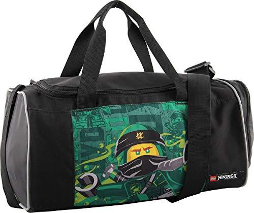 LEGO Bags Sporttasche NINJAGO Energy mit Schuhfach und Nassfach, Reisetasche für Kinder, Schulsporttasche mit Lego Motiv, Gym Tasche aus Polyester, Weekender für Schüler, Umhängetasche in schwarz