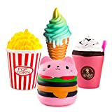 WATINC Kawaii Random 3pcs Hamburger&Popcorn Set Squeeze Toys Sweet Scented Vent Charms Kid Toy Hand Toy, Stress Relief Toy , Decorative Props Doll Gift Fun Large (Pink ham&pop Corn)
