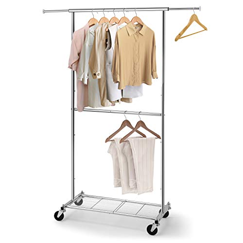 Simple Trending Standard Clothing Garment Rack Rolling Clothes Organizer with Wheels and Bottom Shelves Extendable Chrome