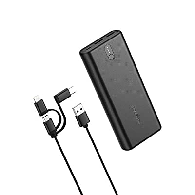 Poweradd 20000mAh 18W Power Delivery USB C High Capacity Portable Charger Fast Charge Power Bank Compatible for iPhone, iPad, Airpods, Samsung, Huawei, most other Phones and Tablets-Black