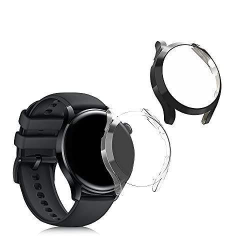 kwmobile 2 Carcasas para Pulsera Actividad - Set de 2X Funda Compatible con Huawei Watch 3 - Negro/Transparente
