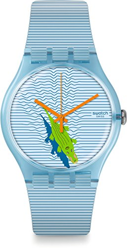 Swatch Damen Digital Quarz Uhr mit Silikon Armband SUOS107