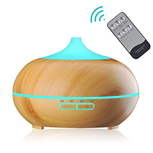 Aroma Diffuser, WQJifv 550ml Luftbefeuchter Ultraschall Fernbedienung Vernebler Raumbefeuchter Elektrisch Duftlampe Öle Diffusor mit 7 Farben LED für Raum,Büro,Yoga,Spa,usw
