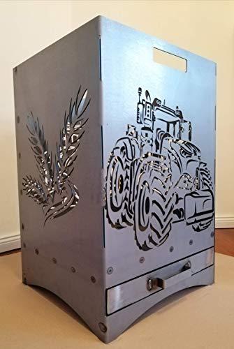Gartendeko Fockbek Feuerkorb Grill inkl. Aschefach und Zwischenboden sehr stabil Maße ca. 40x40x60cm (Motiv Trecker 1)