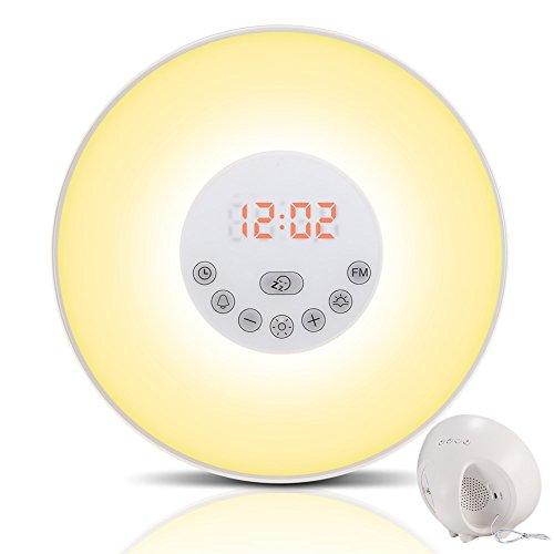 Wecker Wake Up Light Lichtwecker, mit 7 Wecktöne (inkl. 2Naturklänge und FM), 7Farben, 10Dimmstufen, Sonnenaufgangssimulator, Nachtlicht mit Adapter, Wecker für Kinder oder Erwachsene