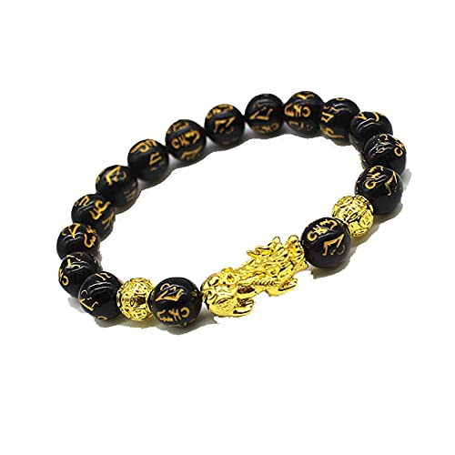 2Pcs Obsidian Stone Beads Bracelet Pixiu Bracelet Black Wealth Bracelet Feng Shui Bracelets Luck Bracelet For Women Man 20Cm