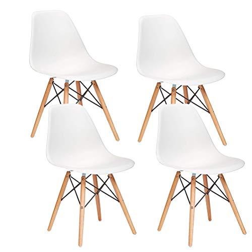 WAFTING 4er Set Modischer Esszimmerstuhl, Eiffelturm Inspirierter Moderner Stuhl für Büro Lounge Konferenzzimmer Küche, Speziell für Ausstellung (Weiß)