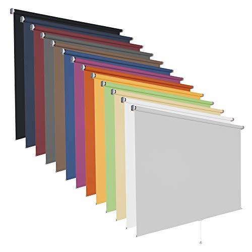 Springrollo Mittelzugrollo Schnapprollo viele Größen und Farben Stoff Rollo Vorhang blickdicht halbtransparent lichtdurchlässig Fenster Sonnenschutz Sichtschutz Blendschutz (120 x 180 cm, Hellgrau)