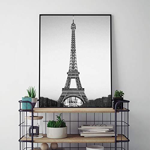 ZWBBO decoratief schilderij op canvas geschilderde muurposter Franse kunst in zwart en wit landschapsafbeeldingen wanddecoratie