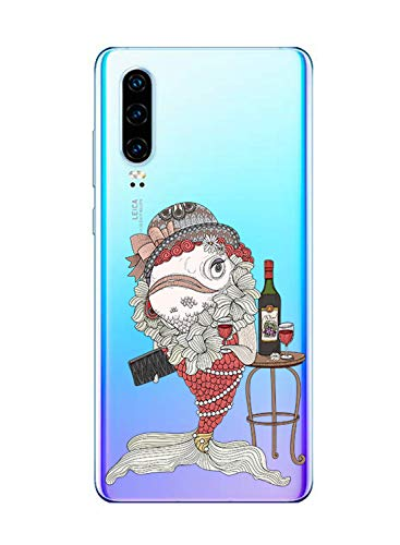 Oihxse Mode Case Compatible pour Huawei P20 Lite/Nova 3E Coque Transparent Silicone Gel TPU Bumper Animal Motif Dessin Cover Ultra Mince Crystal Clear Antichoc Protection Couverture,Koi