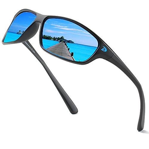 DUBERY Polarized Sports Sunglasses for Men Women 100% UV Protection Driving Fishing Running Sun Glasses D135(Matte Black/Blue)