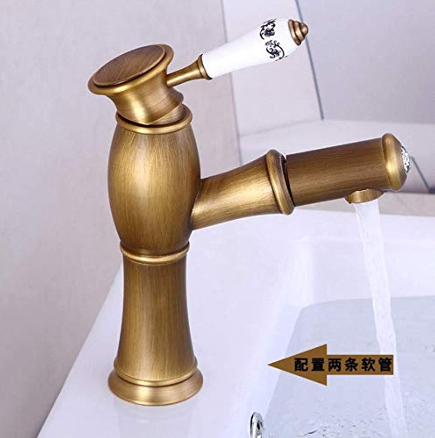 Dwthh Retro Antique Brass Bathroom Faucets Single Holder Single Hole Deck Mounted Faucet Hot Cold Water Mixer Tap
