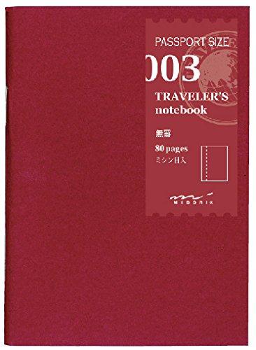 Midori Notizbuch, ohne Linien, Nachfüllpackung Midori 003 für Traveler's Notebook in Reisepass-Größe