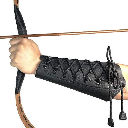 longbowmaker Bogenschießen Armschutz aus Leder 8.66 Zoll Schwarzer Unterarmschutz Armschoner für Bogensport