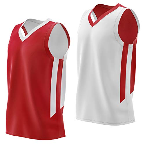 Liberty Imports Reversible Men's Mesh Athletic Basketball Jersey Single for Team Scrimmage (Jersey red/wht, Medium)