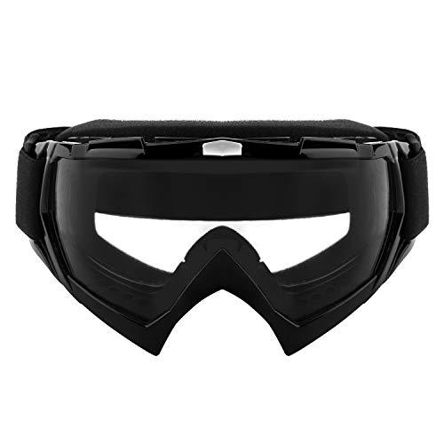 shirylzee Gafas de Moto UV Protección Gafas Ajustable Antifaz a Prueba de Viento para Viento Motocross Ciclismo esquí (lente clara)